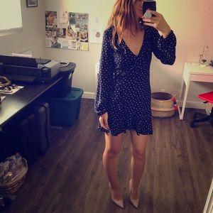 F21 ~ navy blue mini wrap dress 🧿 ruffle details